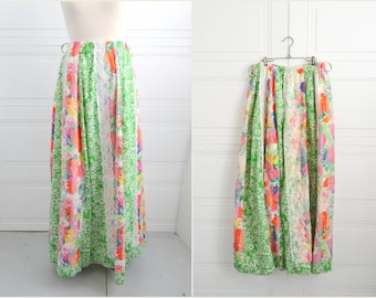1960s Floral Patchwork Maxi Skirt