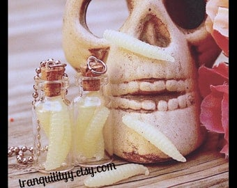Maggot Necklace,Glow in the Dark Maggot Necklace, Awesome Glass Bottle 2ml Gorry , Halloween ,Handmade By: Von'Dez Redman