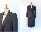 CLEARANCE SALE // vintage 80s charcoal gray pinstripe wool suit - ladies skirt & jacket / Peabody House suit - 1980s wool suit / New Wave