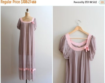 20% SALE 1930s silk chiffon dressing gown - sheer dove gray dress / Nat Lewis - New York / 30s sheer nightgown - maternity gown - boudoir ph
