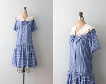 vintage 80s blue striped drop waist ladies dress - sailor collar / Donna Morgan - neck bow / Lolita - kawaii - 1980s