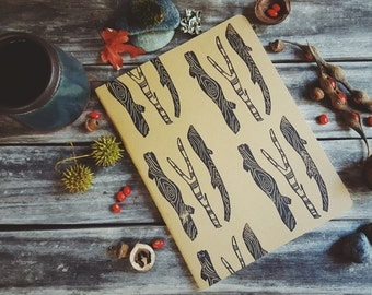 Woods Pattern Handcarved Print Large Moleskine Journal Notebook Nature Woodland Sticks Forest Nature Back to School Gift Present Men Dad