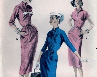 Vintage 1960s Butterick 8095 Slim Sheath Fitted Dress Sewing Pattern Size 16 Bust 36
