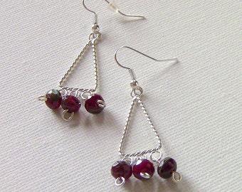 Drop Earrings, Dangle Earrings, Silver and Bead Earrings, Earrings