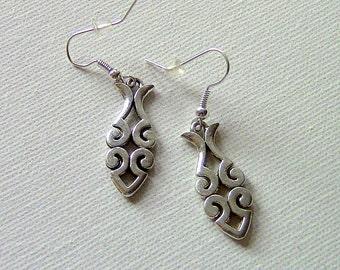 """Earrings, """"Fish"""" Earrings, Dangle Earrings, Silver Earrings"""