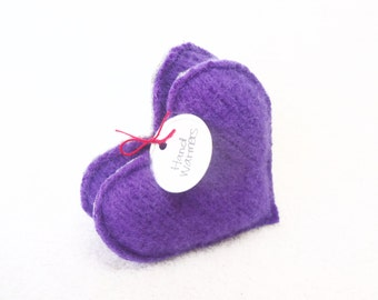 Pocket Hand Warmers PURPLE HEARTS Felted Sweater Wool Handwarmers Rice Bags Coworker Teacher Gift Stocking Stuffer by WormeWoole