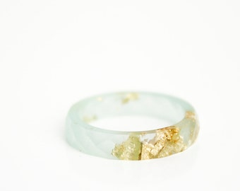 seaglass green and gold size 7 thin multifaceted eco resin ring