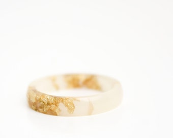 size 7.5 | thin smooth stacking eco resin ring | pale rose with gold metallic flakes | gold flakes