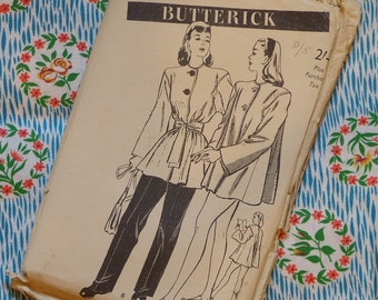 Vintage 1940s Sewing Pattern / Swagger Coat / Beach Sports Jacket / 32 Bust / Unused / FF