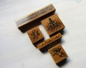 Set of 5 Assorted romantic shabby chic wooden rubber stamp set kit