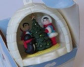 Vintage 1980's Avon ~ Eskimo Friends Warming in Igloo ~ Christmas Ornament ~ First Home Together ~Memento