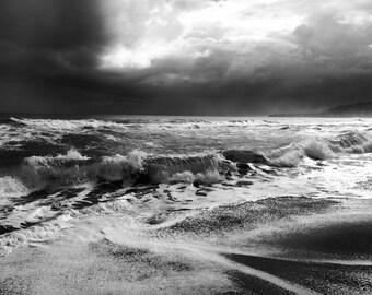 Costa Rica Ocean - Stormy Seas - Waves - Black & White Fine Art Photograph - Playa Negra - Beach - Nature - Landscape - Travel