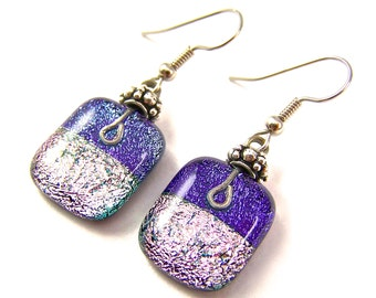 Dichroic Dangle Earrings - Purple Violet Pink Dichro Layered Fused Glass - Beaded - Surgical Steel French Wire or Clip On - 3/4""