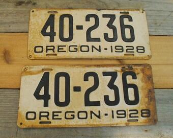 1928 vintage Oregon license plates - set of 2