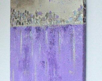 Purple  Moon No3 - Original Textured Mixed Media Acrylic Painting