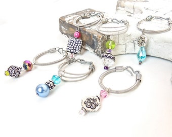 GUITAR String WINE CHARMS - set of 6 -  aqua, pink, purple, lime - eco-friendly/upcycled/recycled gifts - under 25 dollars