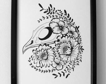 SUMMER SALE - Peonies & Skull art work, nature tattoo artwork, bird skull wall art print