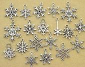 20pcs Mixed Antique Silver  Christmas Snow Charm Pendant