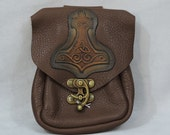 In Stock Brown Leather Round Bag, Medieval Belt Pouch, Soft Bag, Medium with Thors Hammer Patch