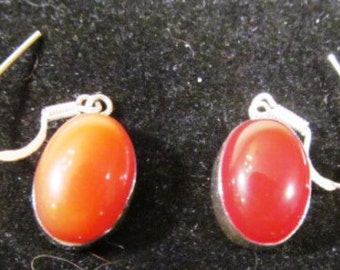 Natural 100% Carnelian Gem Stone Oval Dangle Earrings with Sterling Silver findings