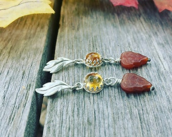 Falling leaves Citrine and sterling silver earrings, fall earrings, sterling leaf earrings, citrine gemstone earrings, november birthstone