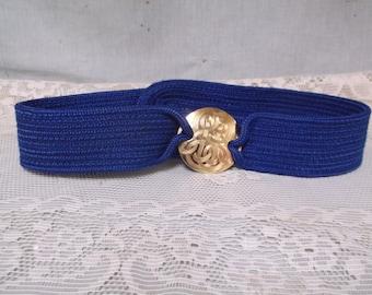 "Retro 1980s Cobalt Blue Woven Belt, Milor, 28"" Around"