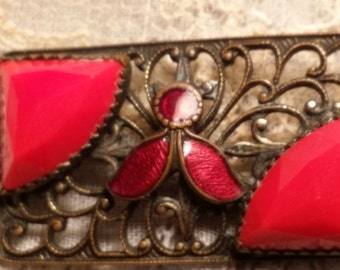 LOVELY Small Pin w/ Red Glass & Red Enamel ANTIQUE