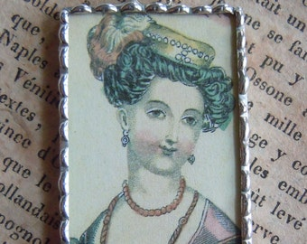 Fiona and The Fig 1840 French Fashion Plate Double Sided  Charm Necklace Pendant