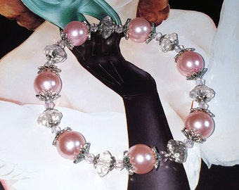 SALE Charming Pale Rose Pink Pearl Stretch Bracelet w/Lite Pink Crystal Clear Faceted Rondelle Disk Beads & Silver Flower Caps FREE SHIPPING