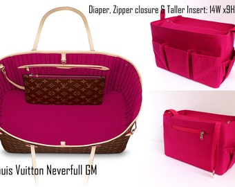 Diaper and Taller Purse organizer to fits Louis Vuitton Neverfull GM with Zipper closure - Bag organizer insert in Pink