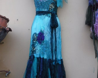 "bridal shabby bohemian gypsy wedding formal satin party dress .x small to 32"" bust..."