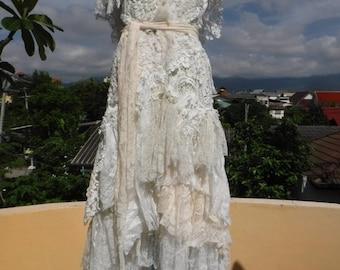 "20%OFF wedding formal lagenlook shabby ivory boho bohemian gypsy dress ...medium to 40"" bust..."