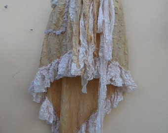 """20%OFF vintage inspired cotton skirt with pocket and lace ruffles.. 38"""" across plus ties."""