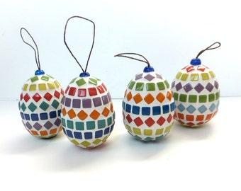 Mosaic Easter Egg Ornament, hanging easter ornament, mosaic egg