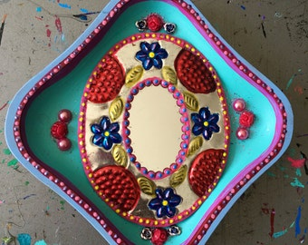 Mexican tin metal mirror on wood plaque / Mexican folk art / rainbow pink turquoise teal / wedding gift xmas gift