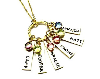 Hand Stamped Personalized Necklace - Mothers Necklace- Mothers Jewelry- Birthstone Necklace - Custom Necklace