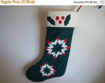 Vintage Green Red Quilted Christmas Stocking