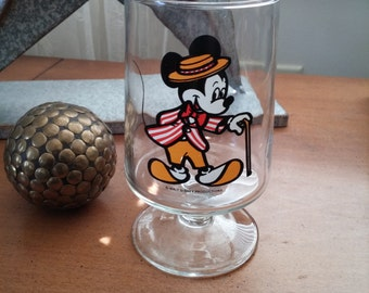 "Disney Mickey Mouse Pedestal Stemmed Drinking Glass Goblet Red 5"" Disney Productions"