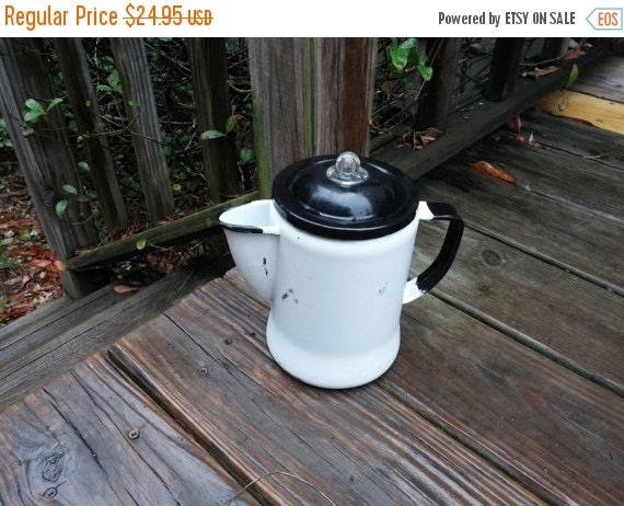 Vintage Enamel Coffee Pot With Parts White Black Cottage Farmhouse Decor Camp Decor