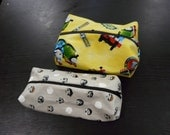 Two boxy zip pouches - custom order for Kirsten