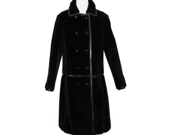 Mod Faux Fur Coat, Leather Details, I Magnin, Vintage 1960s