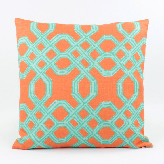 orange turquoise pillow cover 20x20 by chloeandolivedotcom. Black Bedroom Furniture Sets. Home Design Ideas