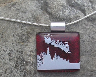 Christmas Santa Necklace Fused Dichroic Glass Santa Pendant