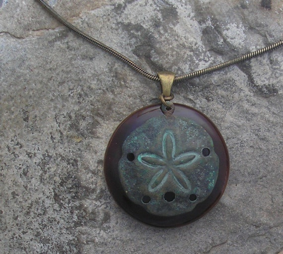 Sand Dollar Necklace Fused Glass Earthy Sand Dollar Pendant