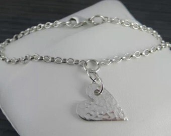Sterling Silver Textured Heart Charm Bracelet