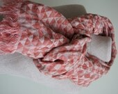 Linen Scarf with geometrical triangle--red and gray colors-Natural-Pure Linen