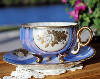 Iridescent Teacup, Cup and Saucer, Pearlized Teacups, Tri Footed, Unmarked Japanese Tea 12991
