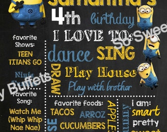 MINIONS Personalized Chalk Board Sign | PRINTABLE Paper Party Supplies | Kids Birthday Party | Photo shoot Prop