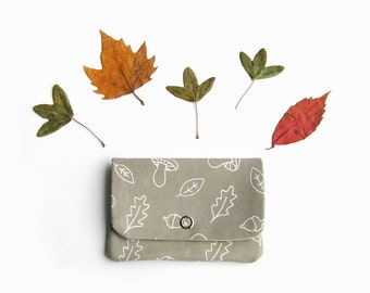 FREE  SHIPPING Coin purse, Change purse, Organic cotton small wallet, Fall trends,  Gifts for her, Gifts for wife, Gifts under 20, Mushrooms