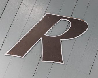 R is for Richard...   Uppercase Vintage Black Wooden Letter R, Letters, Home Decor, Wall Hanging